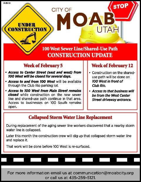 City of Moab 100 West Construction Update February 2019
