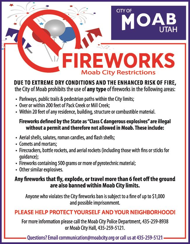City of Moab Fireworks Restrictions 2019-Website