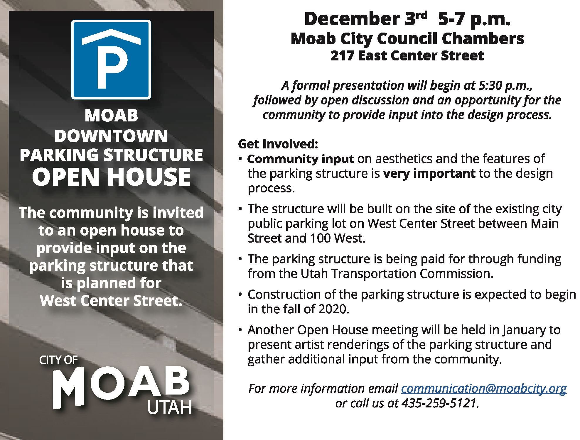 City of Moab Park-Structure Open House Flyer